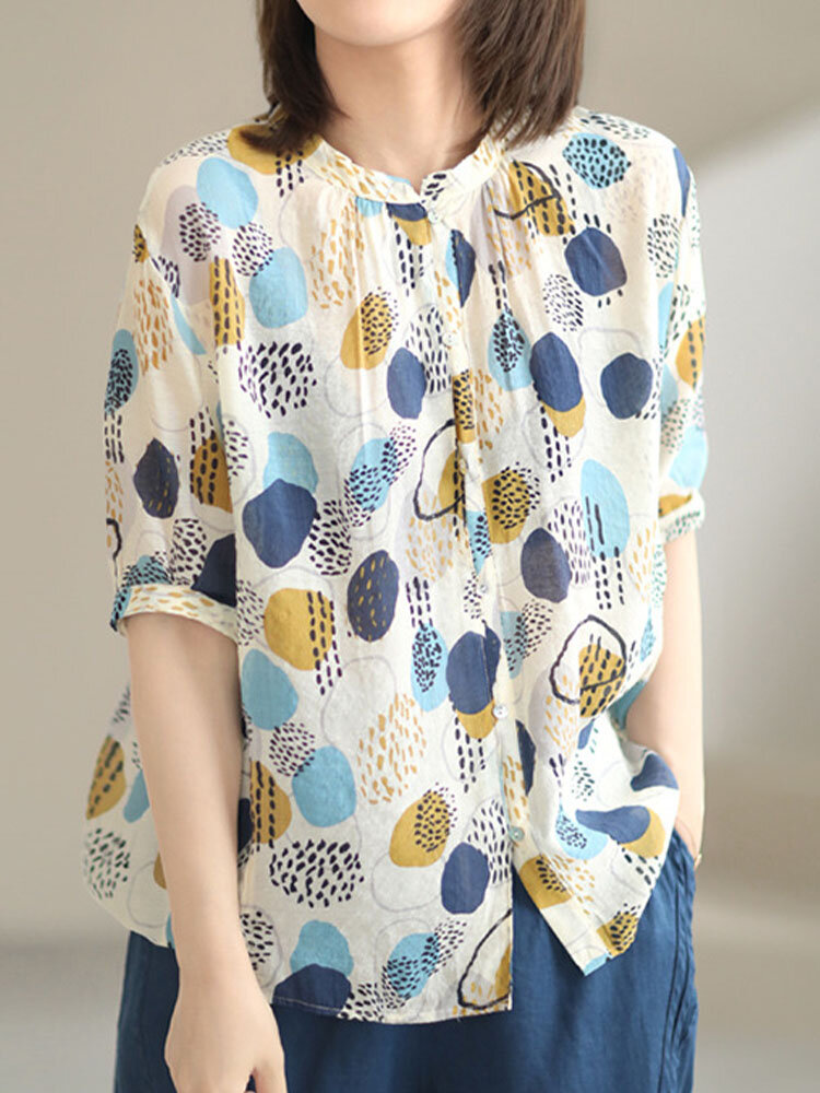Multi-color Dot Print Stand Collar Half Sleeve Button Loose Blouse