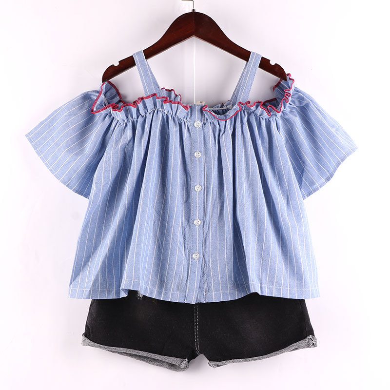 Striped Off Shoulder Girls Short Sleeve Shirt For 2-9Years
