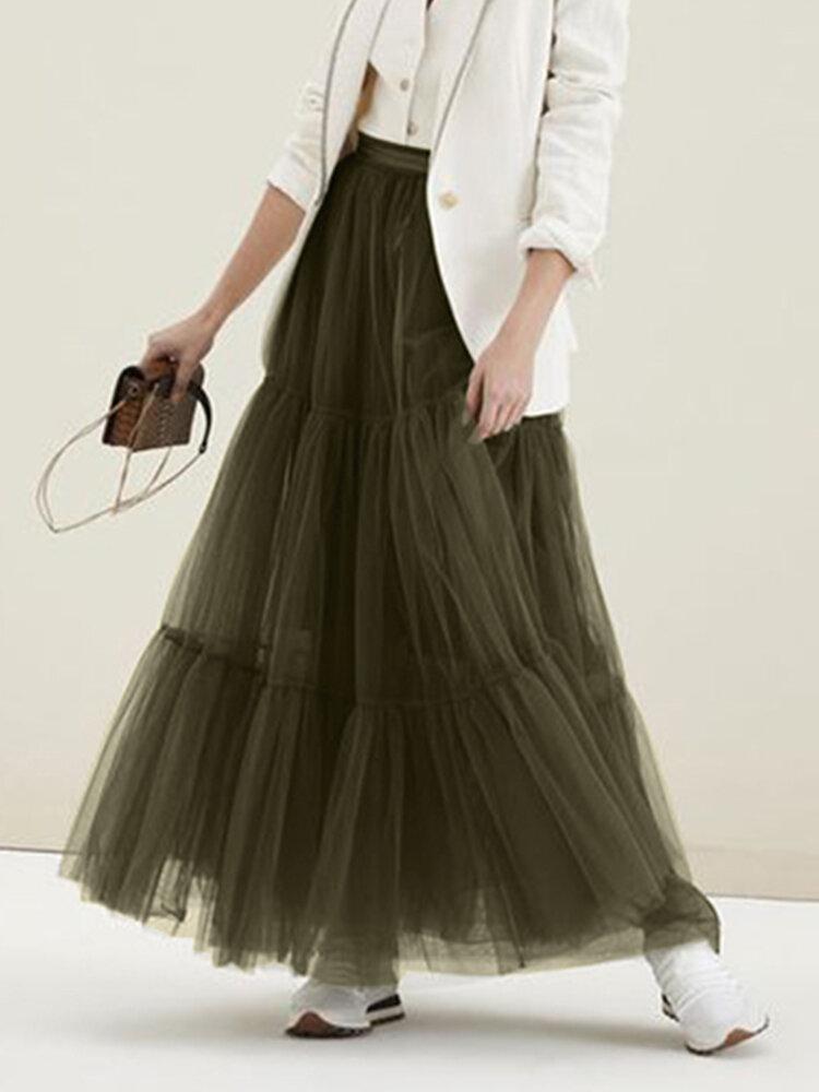 メッシュソリッドカラーエラスティックウエストプラスサイズマキシスカート