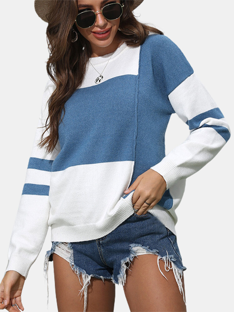 Striped O-neck Overhead Knitted Sweater For Women