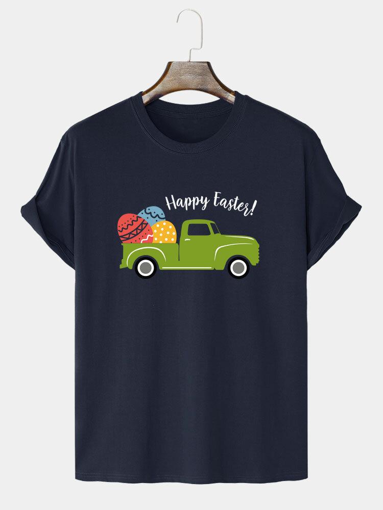 Mens Easter Cartoon Egg & Car Print 100% Cotton Short Sleeve T-Shirts