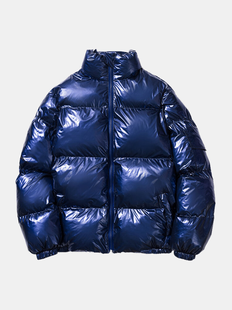 Mens Thicken Reflective Warm Stand Collar Zipper Casual Down Coat