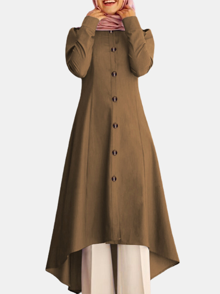 Solid Color Button Curved Hem Casual Muslim Dress for Women