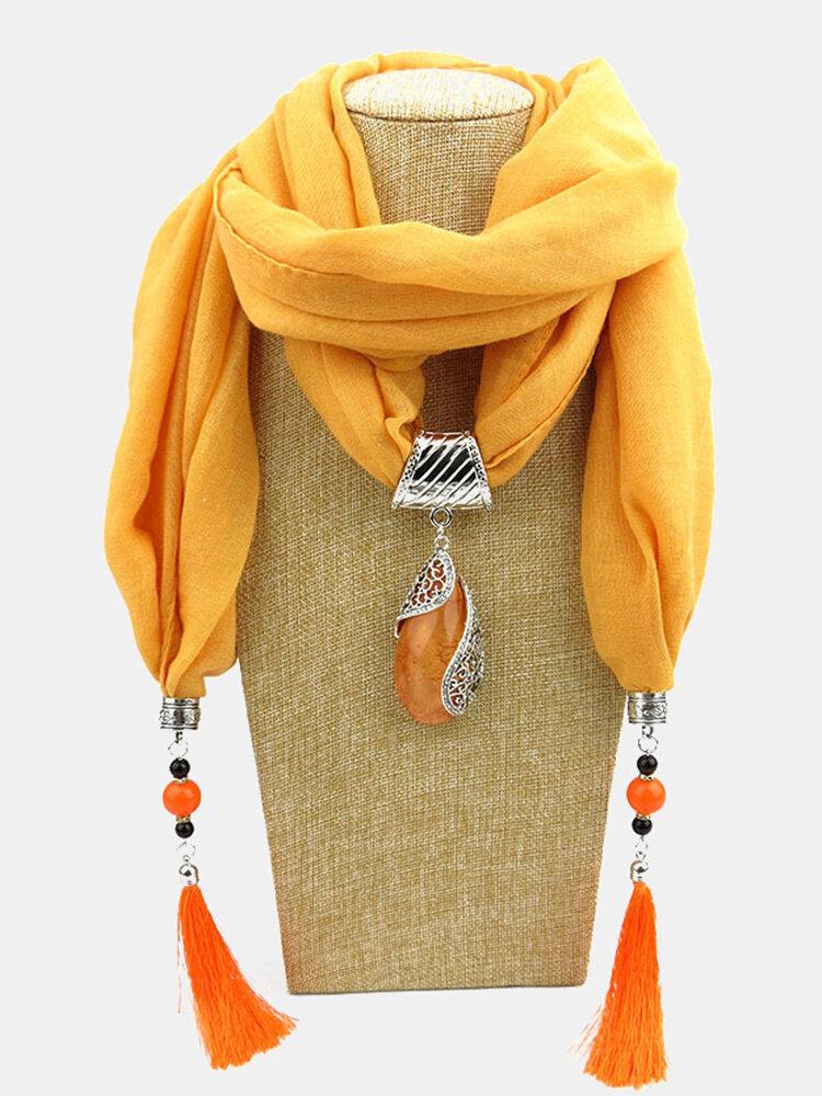 Bohemian Drop Shape Gem Pendant Scarf Necklace Women Tassel Multi-layer Necklace