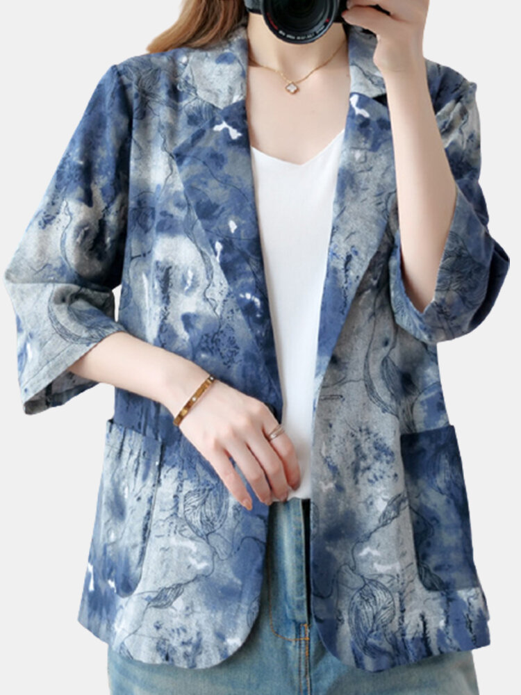 Casual Printed 3/4 Length Sleeve Jacket For Women