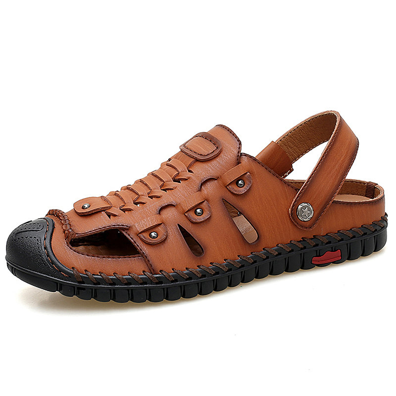 Men Hand Stitching Woven Style Toe Protective Outdoor Leather Sandals