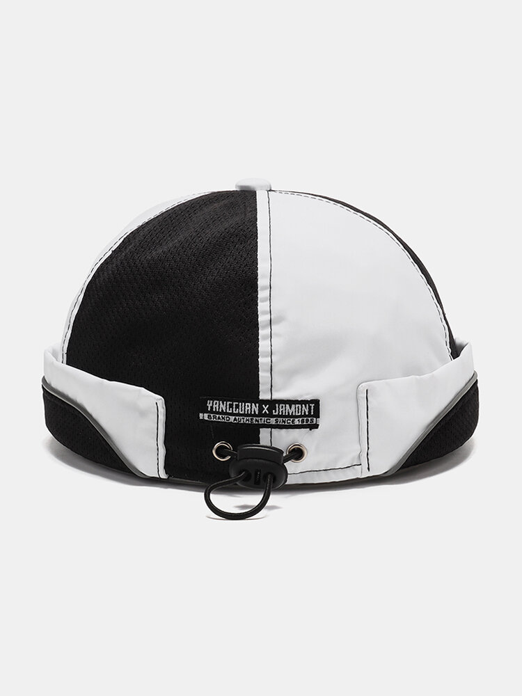 Men & Women Breathable Mesh Skull Cap Brimless Hat With Buttons Adjustable Elastic Band
