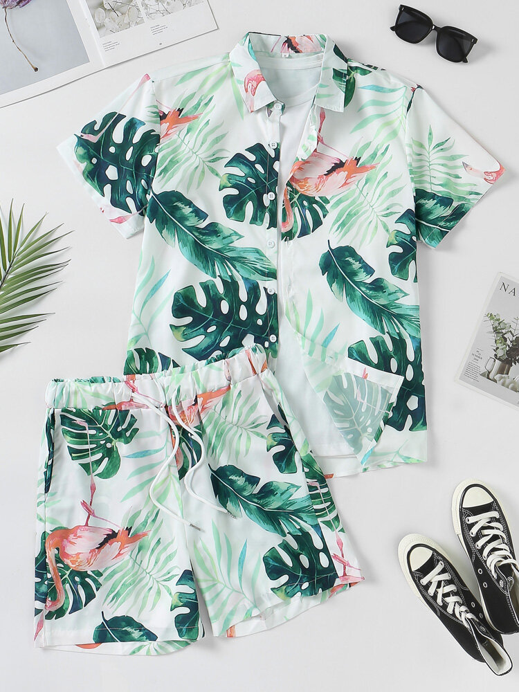 Mens Tropical Leaf Print Lapel Holiday Short Sleeve Two Piece Outfits