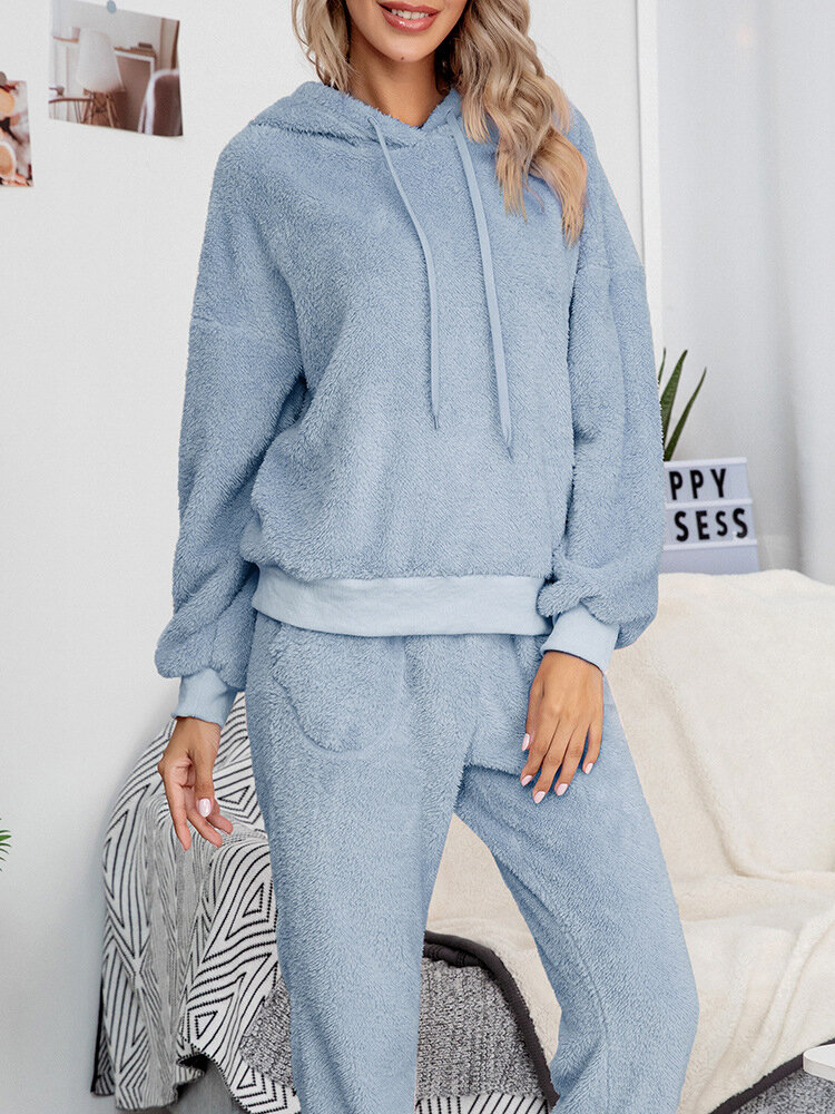 Women Solid Reversible Fleece Drawstring Hooded Two-Piece Warm Home Thick Pajamas Set