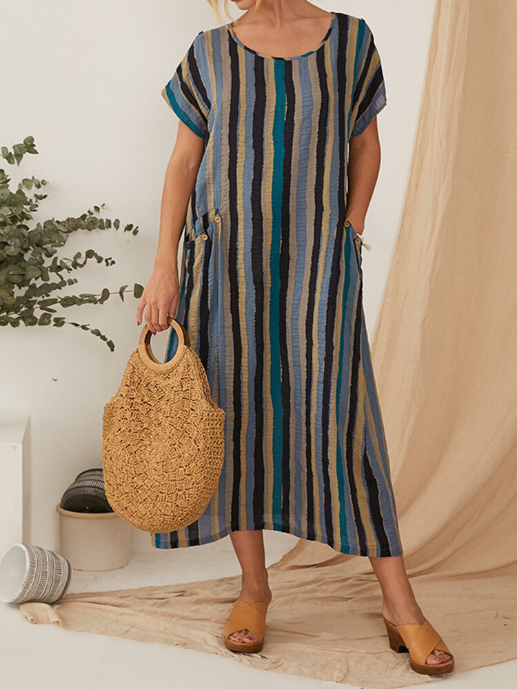 Striped Print Shoet Sleeve Casual Dress With Pocket For Women