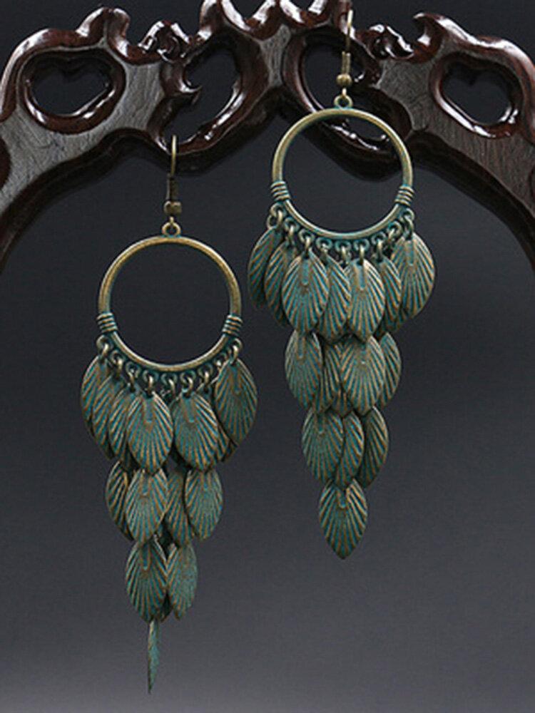 Vintage Feather Women Earrings Combination Leaf Pendant Earrings Jewelry Gift