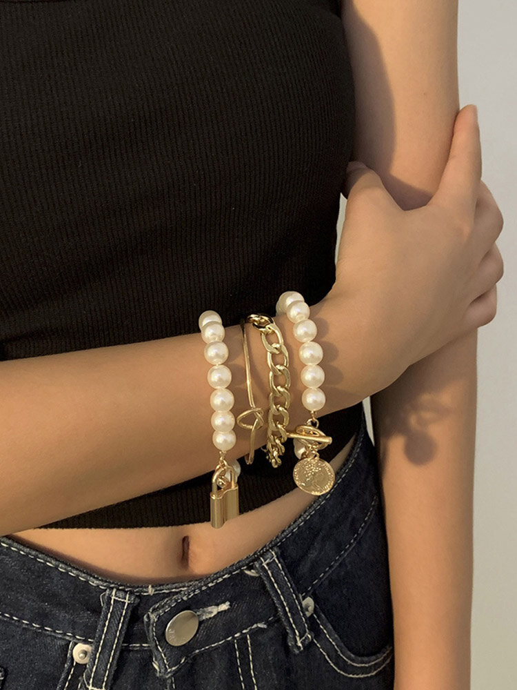 Hip Hop Lock Bracelet Metal Geometric OT Buckle Pearl Bracelet Set