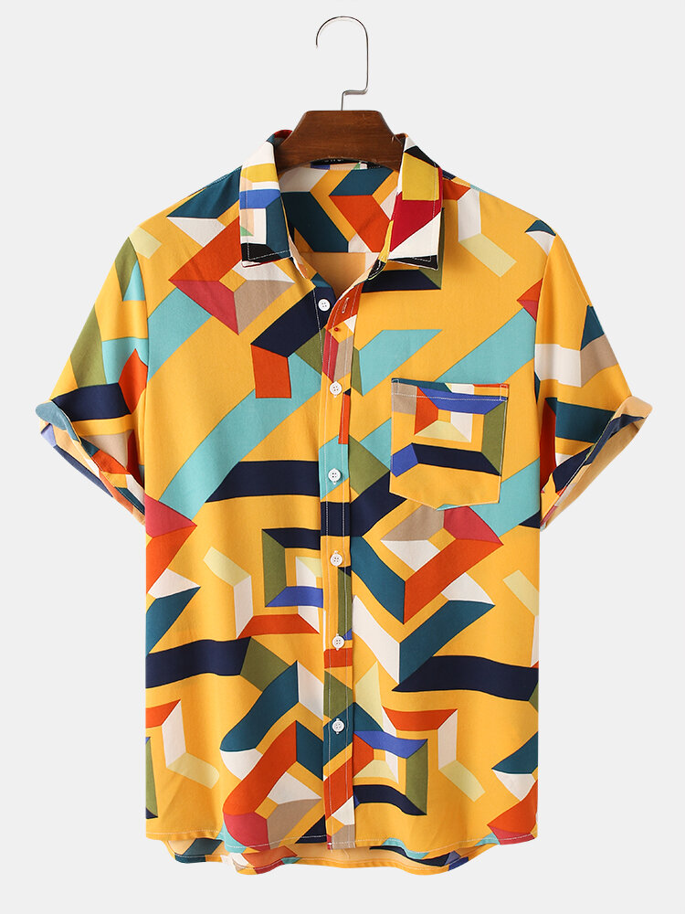 Mens All Over Colorful Geo Printing Street Short Sleeve Shirts
