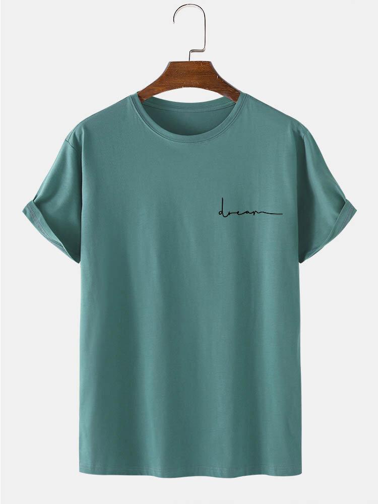 メンズ綿100%キャラクタープリントクルーネック半袖Tシャツ