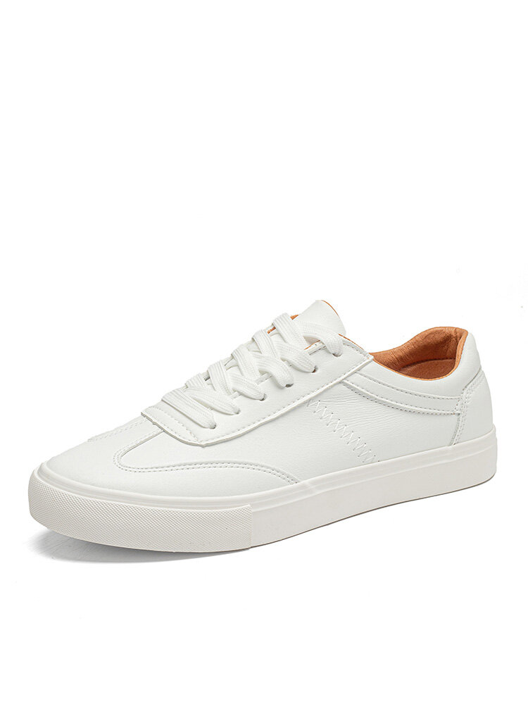 Men Brief Lace-up Pure Color Soft Sole Hard Wearing Casual Skate Shoes