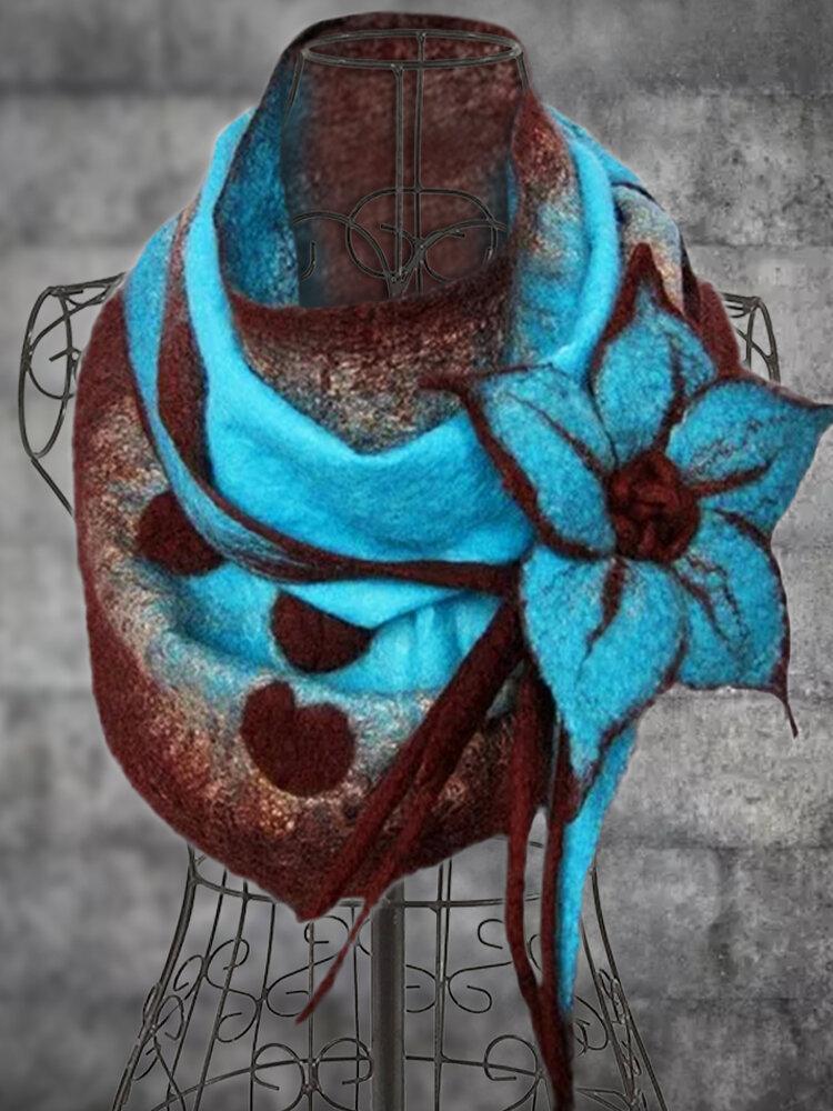 Blusão feminino floral vintage elegante em crochê com botões e cachecóis Padrão