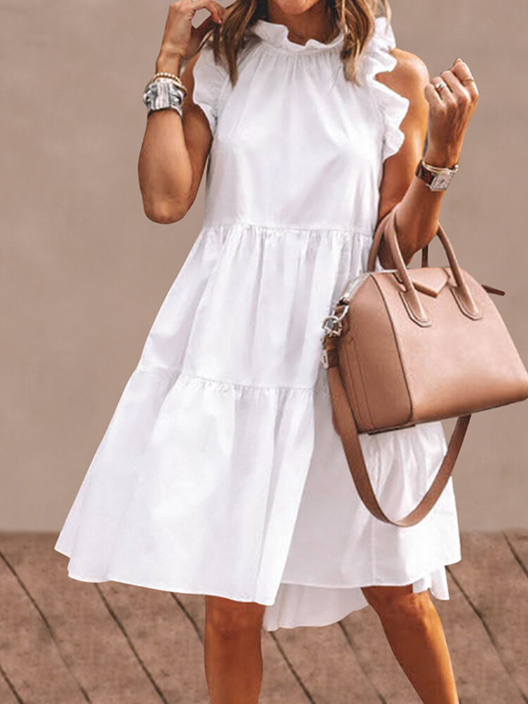 Solid Color Ruffled Collar Sleeveless Casual Pleated Dress