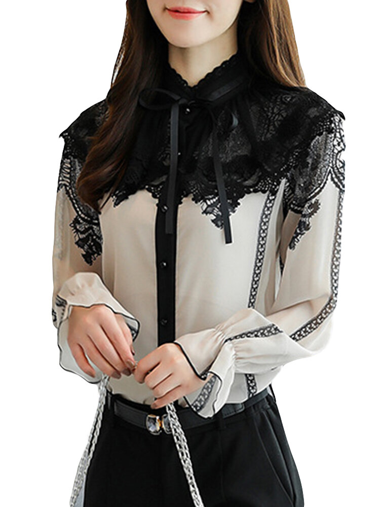 Lace Patchwork Chiffon Long Flare Sleeve Bow Tie Stand Collar Blouses