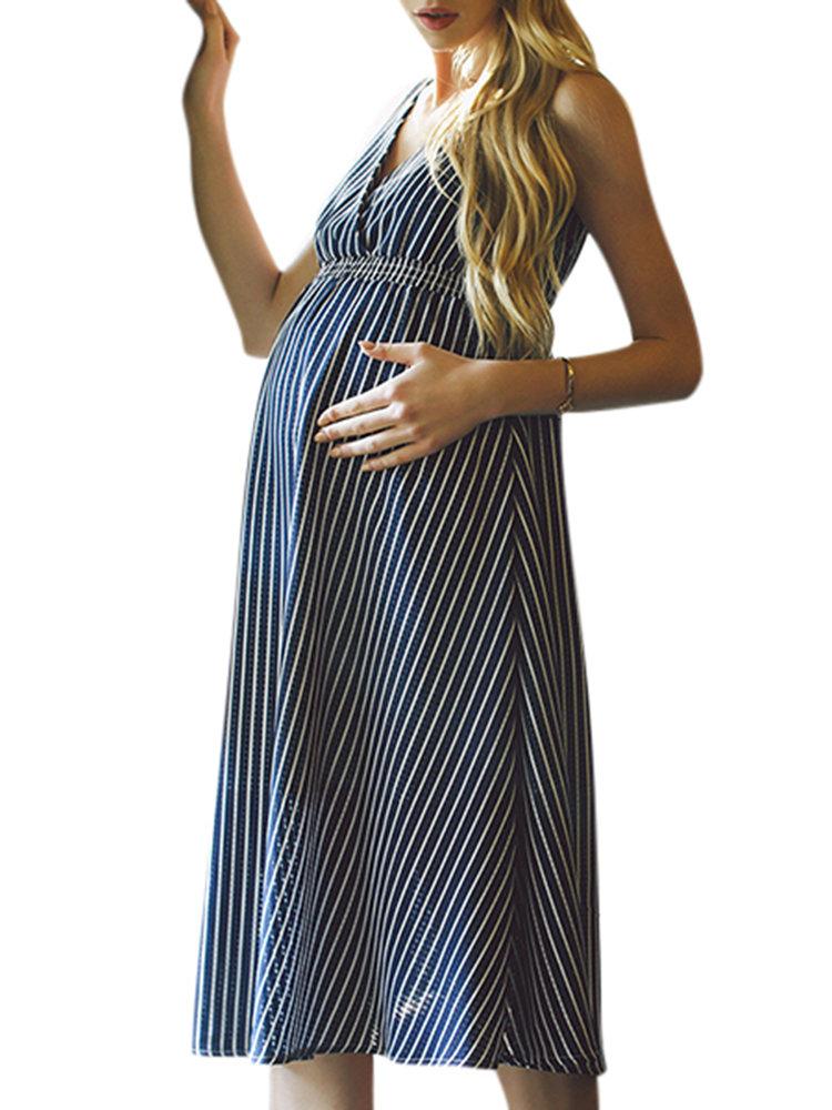 Summer V neck Chiffon Striped Maternity Dress Elegant Maternity Clothes for Pregnant
