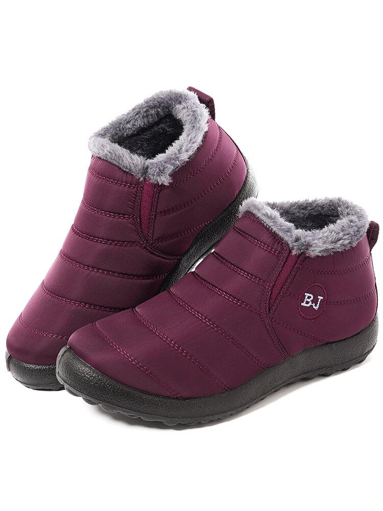 Letter Warm Fur Lining Waterproof Flat Black Sole Boots For Women