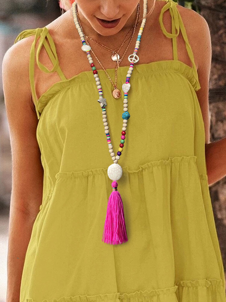 Bohemian Mixed Color Handmade Beaded Necklace Geometric Heart Tassel Pendant Necklace