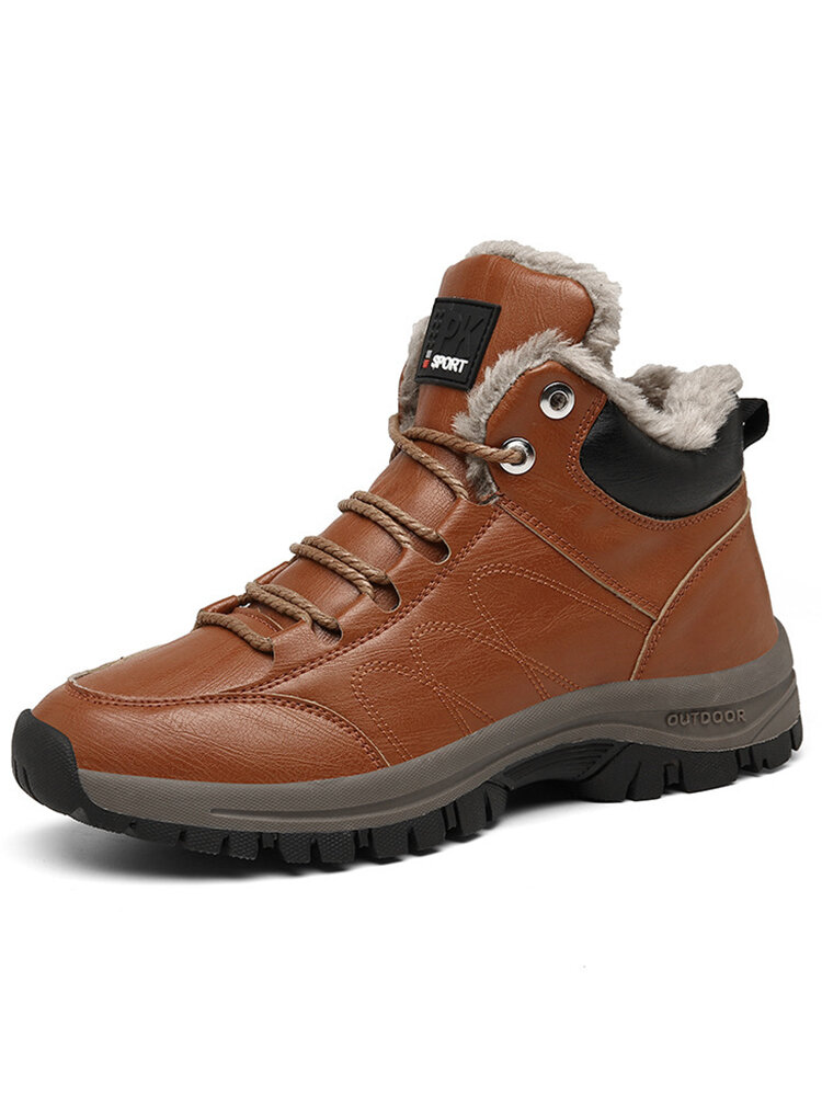 Men Comfy Microfiber Leather Warm Wearable Sole Outdoor Sport Hiking Boots