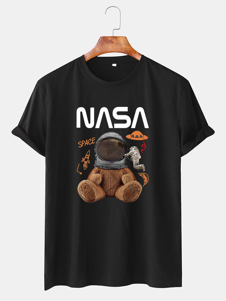 Mens NASA Space Bear Print O-Neck Casual Loose Short Sleeve T-Shirt