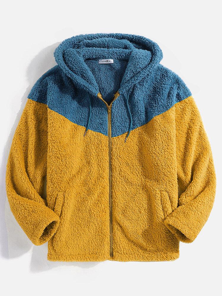 Mens Contrast Patchwork Zip Up Plush Slant Pocket Hooded Jackets