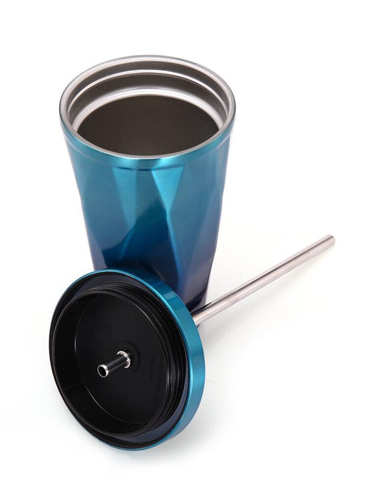Портативная чашка со льдом кофе нержавеющей стали кружки перемещения с соломой выпивая нержавеющей стали