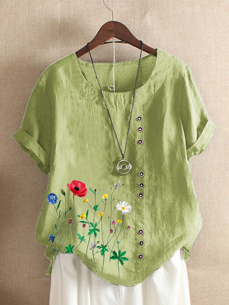 Casual Flowers Print O-neck Plus Size T-shirt