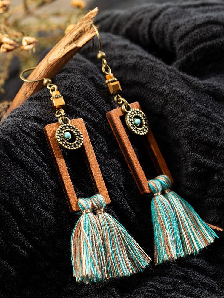 Vintage Bohemian Geometric Rectangular Tassel Wooden Alloy Earrings