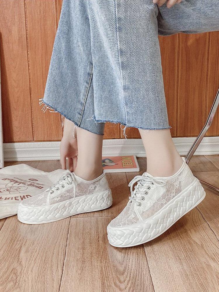Verano de las mujeres nueva moda de malla de encaje de color sólido decoración del arco zapatos de skate