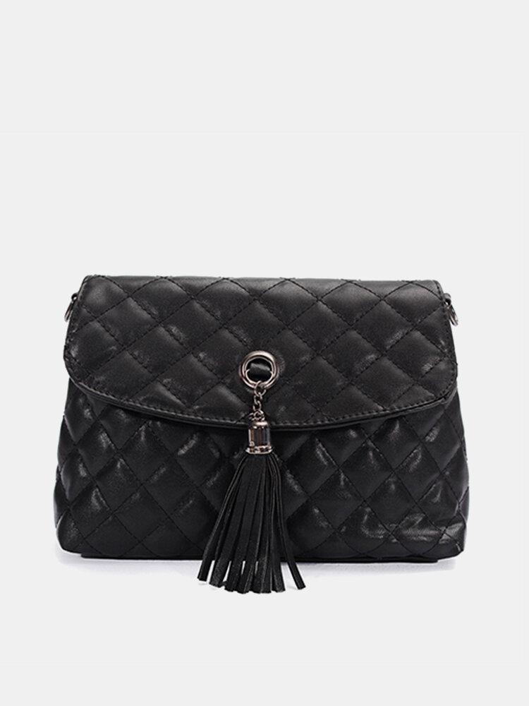 Women Elegant Plaid Tassel Pendant Shoulder Bag Crossbody Bags