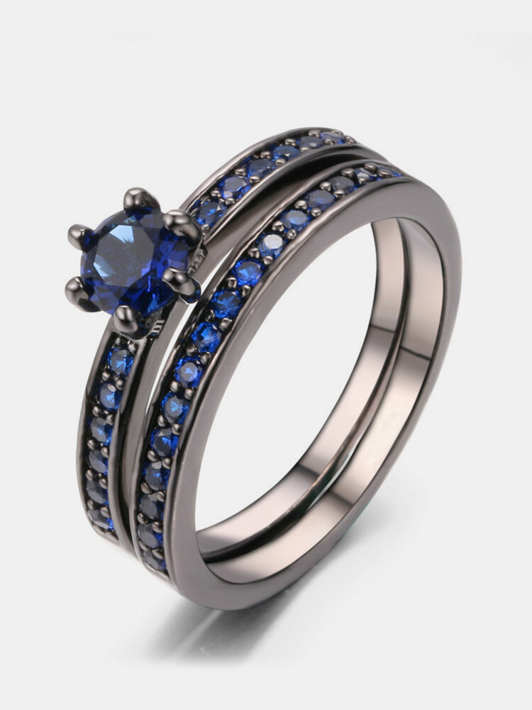 Elegant Crown Ring Set Cubic Zirconia Copper Six-prong Ring Gift Engagement Ring for Women