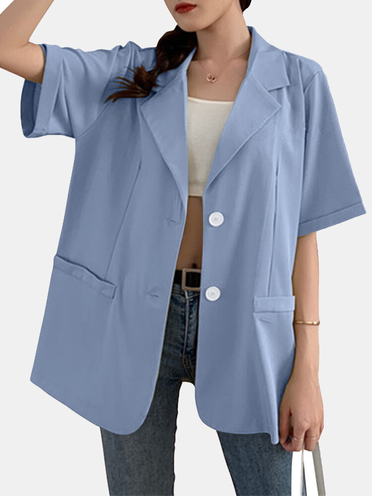 Solid Color Half Sleeve Turn-down Collar Blazer For Women