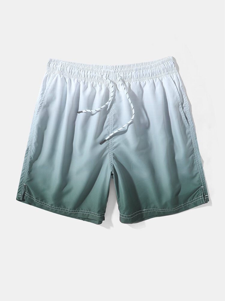 Mens Ombre Quick Dry Lined Casual Drawstring Swim Trunks