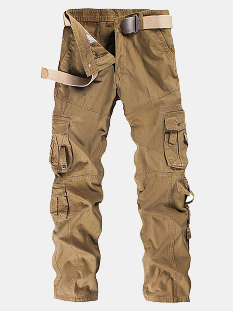 Mens Cargo Pants Multi-pocket Solid Color Outdoor Trousers