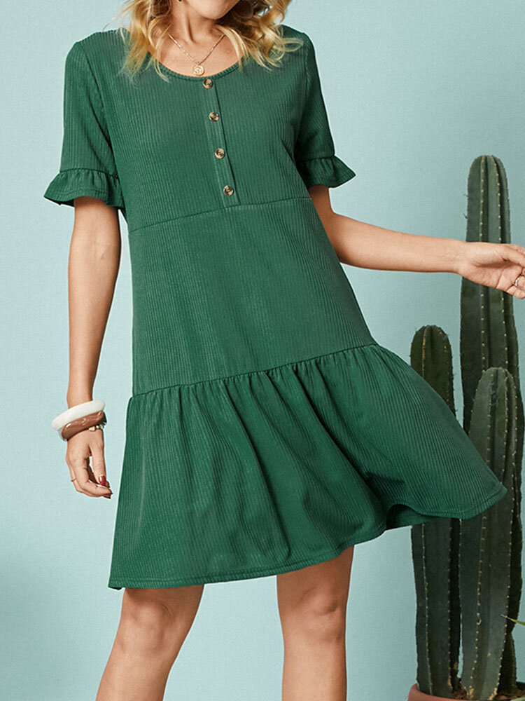Solid Color O-neck Short Sleeve Button Casual Dress For Women