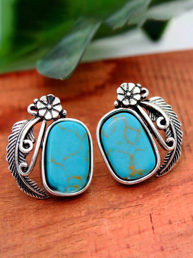 Vintage Turquoise Leaf Women Earrings 925 Silver Plated Feather Flower Pendant Earrings
