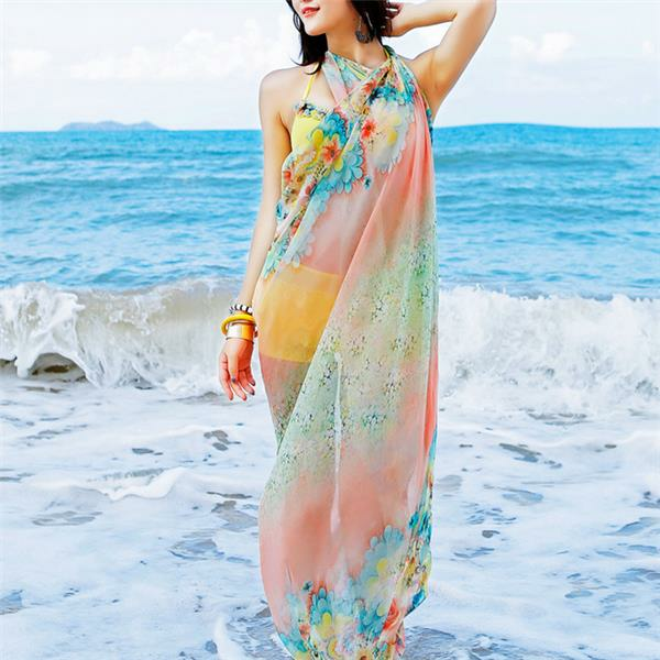Women Spring And Summer Oversized Printing Sunscreen Chiffon Scarves Shawls Beach Towel