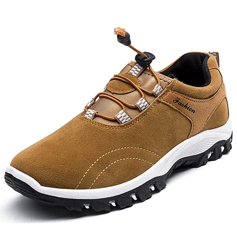 Men Synthetic Suede Slip Resistant Elastic Lace Casual Hiking Sneakers