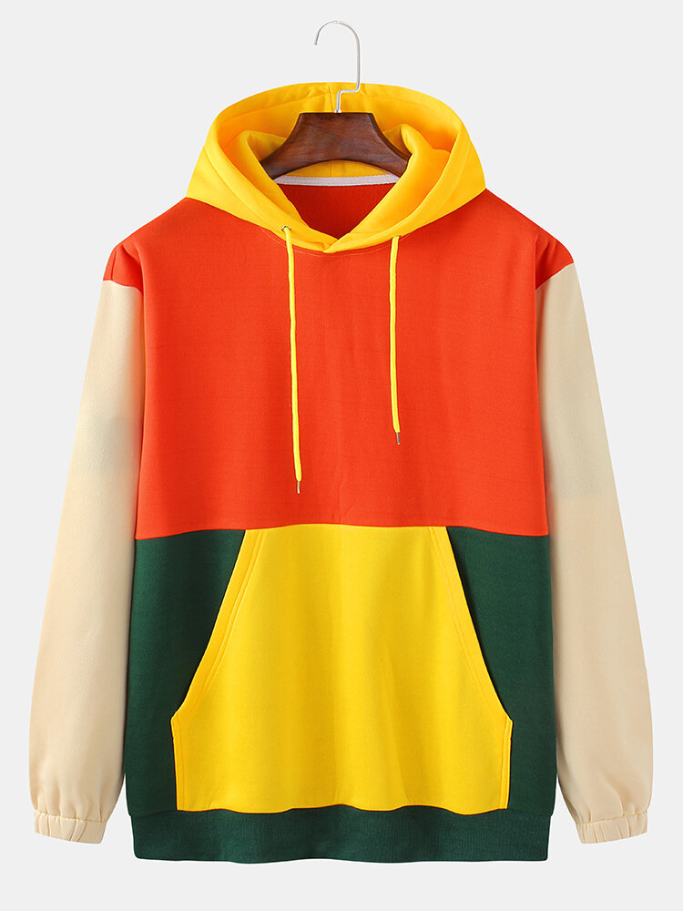 Mens Color Block Patchwork Pullover Hoodies With Kangaroo Pocket