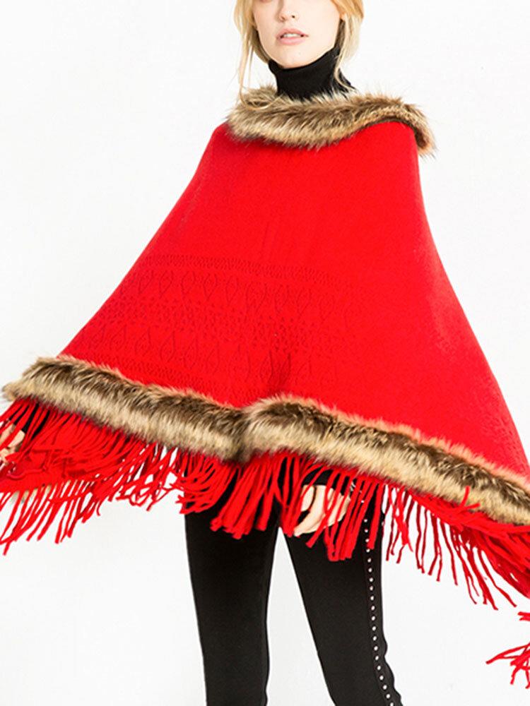 Women Tassel Solid Artificial Fur Poncho With Hood Warm Scarves Cloak Shawl Fashion Fur Hooded Shawl