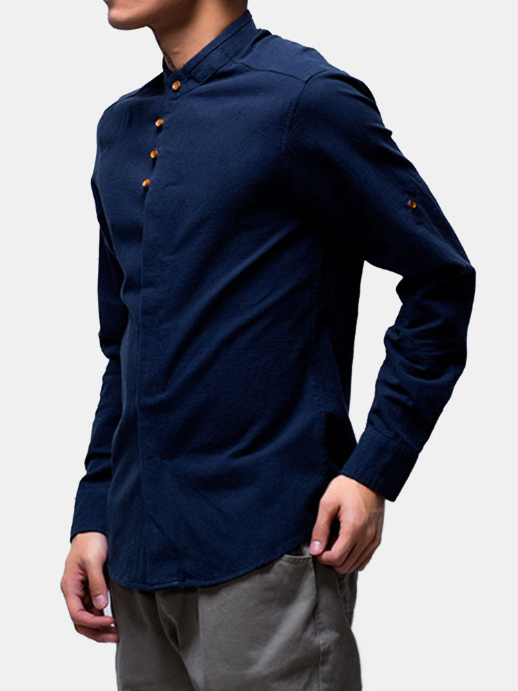Chinese Style Long Sleeve Loose Stand Collar Linen Shirts for Men