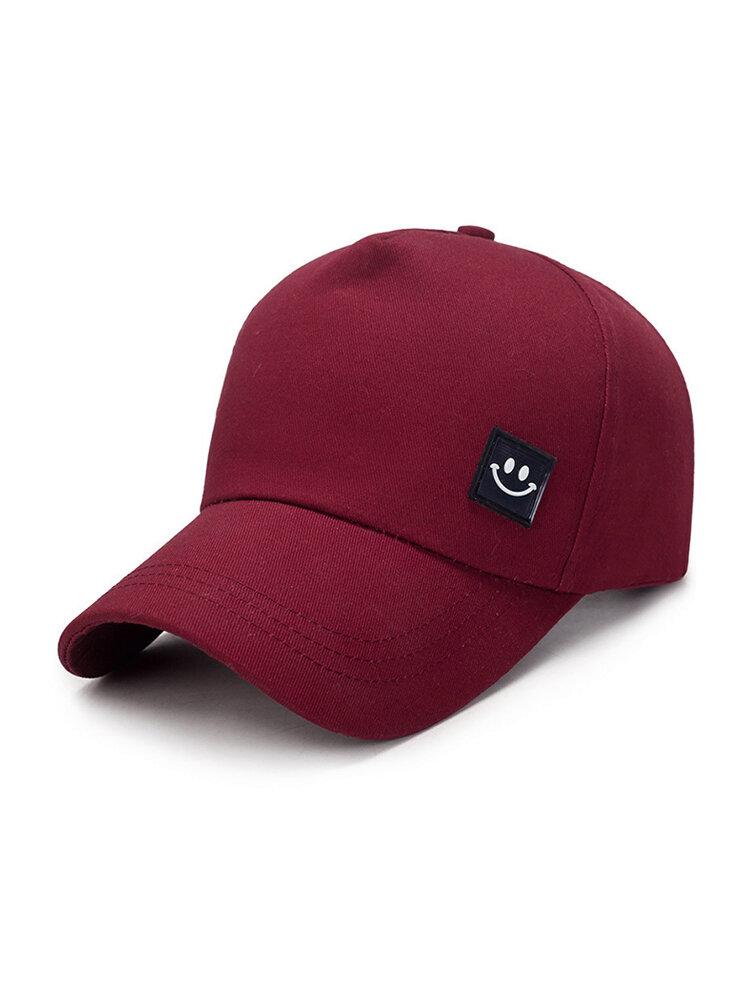 Men Women Solid Color Smile Cotton Baseball Caps Adjustable Casual Sunshade Hip Hop Hat