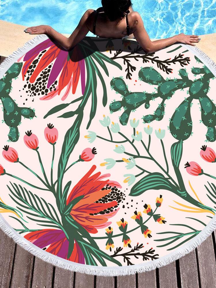 Mikrofaser Marmorblätter Tropische Pflanzen Pflanzen Strandtuch Rund Groß Yoga Handtuch Mit Quaste Strandmatte Deckenbezug