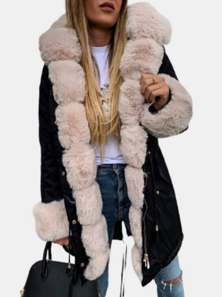 Winter Solid Color Long Sleeve Hooded Thicken Fleece Coat For Women