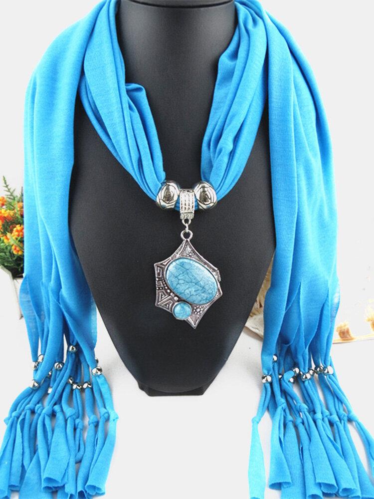 Bohemian Irregular Resin Accessories Alloy Base Women Tassel Pendant Scarf Necklace
