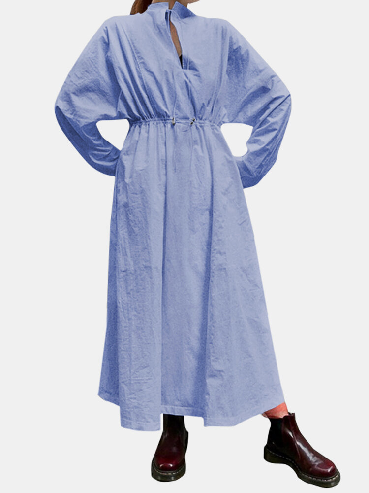 Women Solid Elastic Waist Knotted Dolman Sleeve Casual Dress