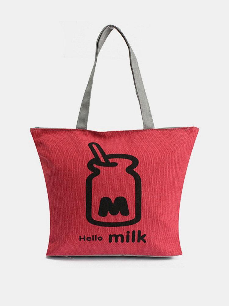 Girl Canvas Shoulder Bag Cartoon Shopping Bag Crossbody Bag